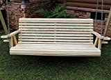 ROLL BACK Amish Heavy Duty 700 Lb 5ft. Treated Porch Swing With Cupholders - Made in USA