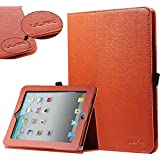ULAK Folio Synthetic Leather Case Stand Cover for Apple iPad 1 1st Tablet Generation(Folio-Orange)