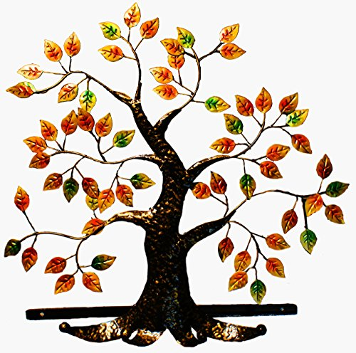 Living Art Coat Hook & Hat Rack Metal Functional Tree Art Wall Mount 4 Hook Coat Hat Rack (Fall Color)