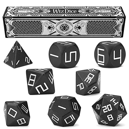Set of 8 Obsidian Masterwork Precision Aluminum Polyhedrals with Laser-Etched Strongbox by Wiz Dice
