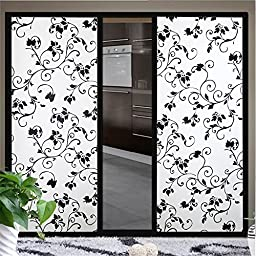 OstepDecor Black Floral Non-Adhesive Decorative Window Films, 36-by-78.7-Inch (3Ft X 6.5Ft.)