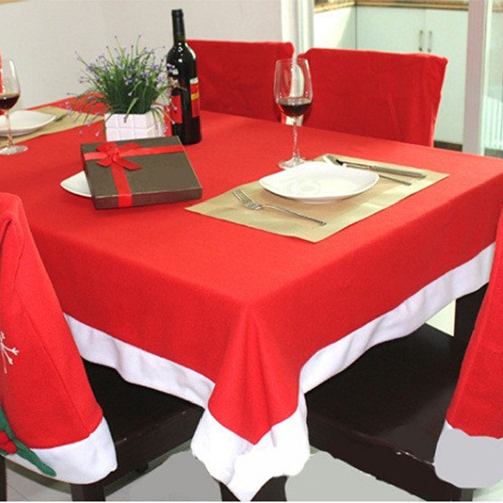 Christmas Table Cloth With 6 Piece Santa Chair Covers Red