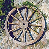 CARTWHEEL - Large Solid Wood Garden Decoration - Burntwood