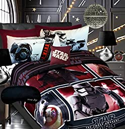NEW! Star Wars Episode VII Boys Teen Comforter, Twin Sheet Set + Home Style Sleep Mask 5 Pc Bedding Set The Force Awakens Bed in a Bag