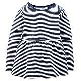 Carter's Little Girls' Sparkle Stripe Peplum Top (Toddler/kid) Navy