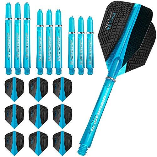 Harrows, Retina - 3 confezioni di alette e steli per freccette, 3 set (9 pezzi) di alette e 3 pezzi di steli supergrip, colore: blu acqua