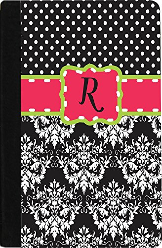 "Rikki Knighttm Rikki Knight Initial ""R"" Pink Green Black Damask Dots Monogrammed Design Kindle® Firetm Notebook Case Black Faux Leather (Not For Kindle Fire Hd) front-646415"