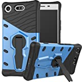 Sony Xperia XZ1 Compact Case , BestAlice Heavy Duty Protection Dual Layer Hybrid Rugged Defender 360 Rotating Kickstand Protective Skin Armor Shockproof Case Cover , Blue