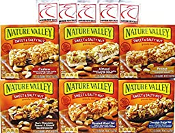 6 Pack! Nature Valley Sweet and Salty Granola Bars Variety Pack of 6 Different Flavors: Cashew, Peanut, Almond, Chocolate Pretzel Nut, Roasted Mixed Nut, Dark Chocolate Peanut & Almond. Bundle of 6- 6 Count Boxes, 1 of Each Flavor. A Healthy Sweet and Sal