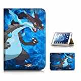 (For iPad Mini 1 2 3, Generation 1/2/3 ) Flip Style Case Cover, Shock Protection Design with Screen Protector - B31022 Pokemon Charizard