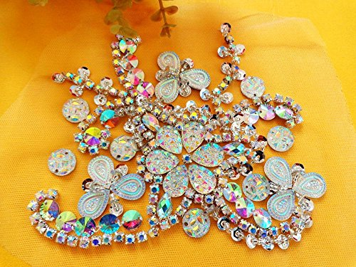 Handmade crystal patches sew on clear AB colour Rhinestones applique with stones sequins beads 15*12cm for top dress (Sew On Clear Rhinestones compare prices)
