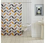 Ocean Dew Leaf Shower Curtain - @home By Nilkamal, Grey