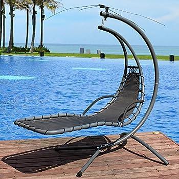 Lazy Daze Hammocks Dream Chair with Umbrella Hanging Chaise Lounge Chair Arc Curved Hammock (Dark Green)