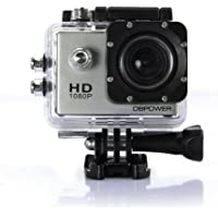 DBPOWER UDBU0428CC 12MP 1080P HD Waterproof Action Camera with 2 Batteries and Accessories Kit (Silver)