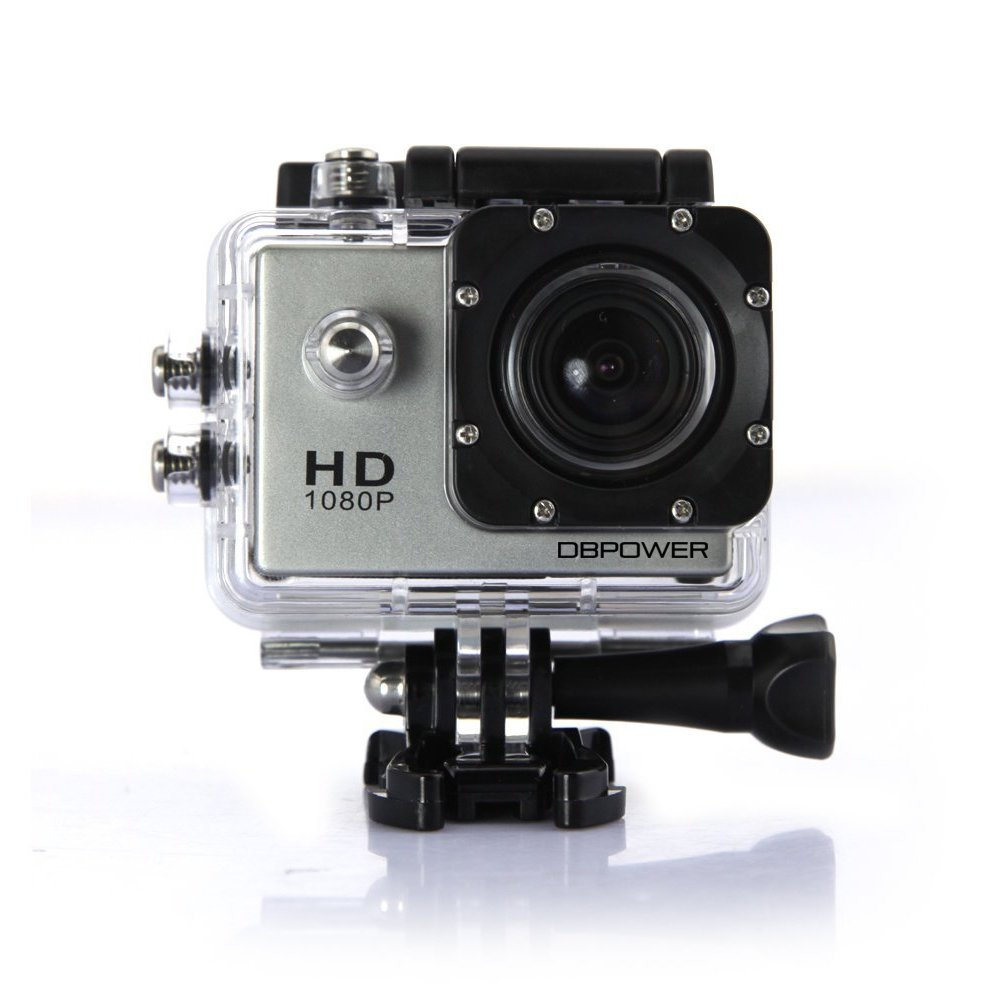 DBPOWER Waterproof Action Camera 12MP 1080P HD with 2 Batteries and Free Accessories Kit (Silver)