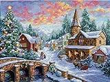 """ディメンジョンズ クロスステッチ 刺繍キット""""クリスマスを待つ村""""    Dimensions Needlecrafts Counted Cross Stitch, Holiday Village  DIM クロスステッチキット Holiday Village 【並行輸入品】"""