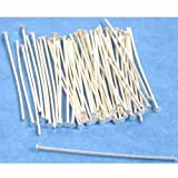 Femitu 50 Head Pins Sterling Silver plated 24 Gauge 1.5-Inch
