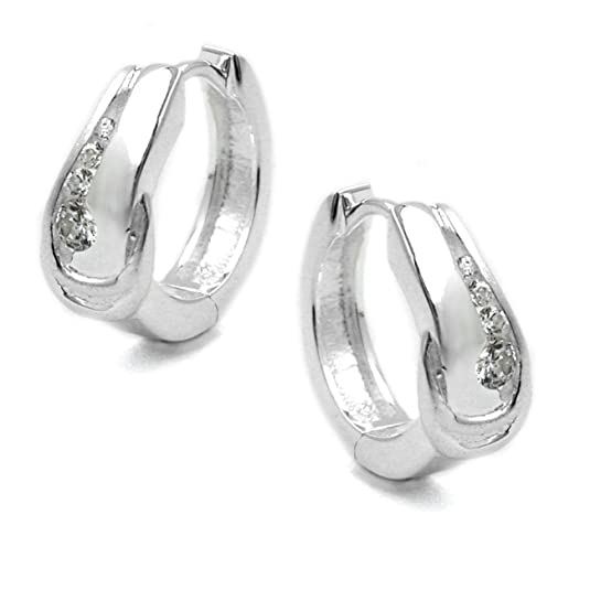 Mya Type Women's Creole Earrings Width 4 zirconia 925 Silver MY9AA1326RT