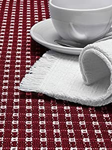 The Mountain Weavers Home Original Mountain Weave All-Cotton Tablecloths 144 Oblongong Royal Blue and White