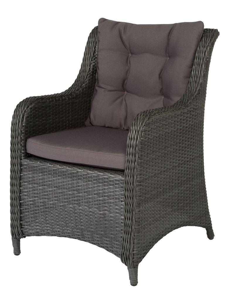 Siena Garden 801180 Sessel Campina Aluminium-Gestell Gardino®-Geflecht titan inkl. Sitz- und Rückenkissen grau