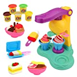 Jellydog Toy Play Dough Set, Ice Cream Dough Playset, Play Dough for Kids, Creative DIY Plasticine Molding Set, Ice Cream Set with Machine and Mold for Girls and Boys