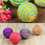 Pecute® Funny Cat Kitten Pet Sisal Rope Weave Ball Teaser Play Chewing Rattle Scratch Catch Toy Random Color