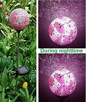 Solar Power 4 Pink Red Mosaic Crackle Glass Ball LED Light
