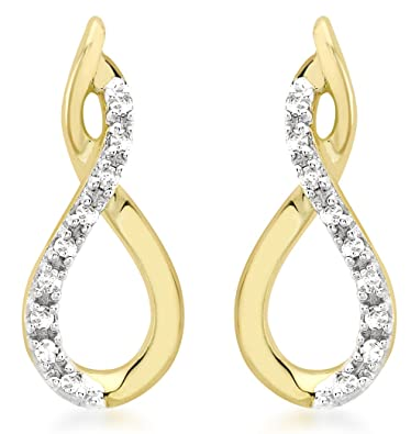 Carissima Gold 9ct Yellow Gold Diamond Crossover Stud Earrings