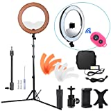 Hakutatz Dimmable 18 inches LED 55W 240LEDs SMD 5500K Ring Light Kit with Bag,Filter Set,Extended Mini Ball Head,Cellphone & iPAD Clip Holder,Mirror,Bluetooth Receiver,Soft Tube,Screwdrive,Light Stand (Color: 55W NEW KIT)