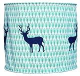 Taftan - Paralume in tessuto, motivo: cervo, 35 cm, colore: blu scuro/verde