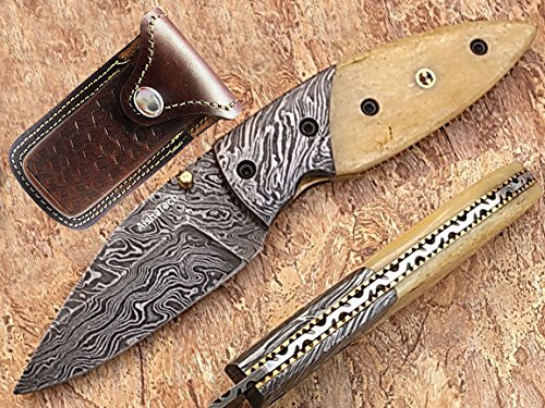 Sharpie Pocket Knife Blade and Bolster Made of Damascus Steel Bone Handle