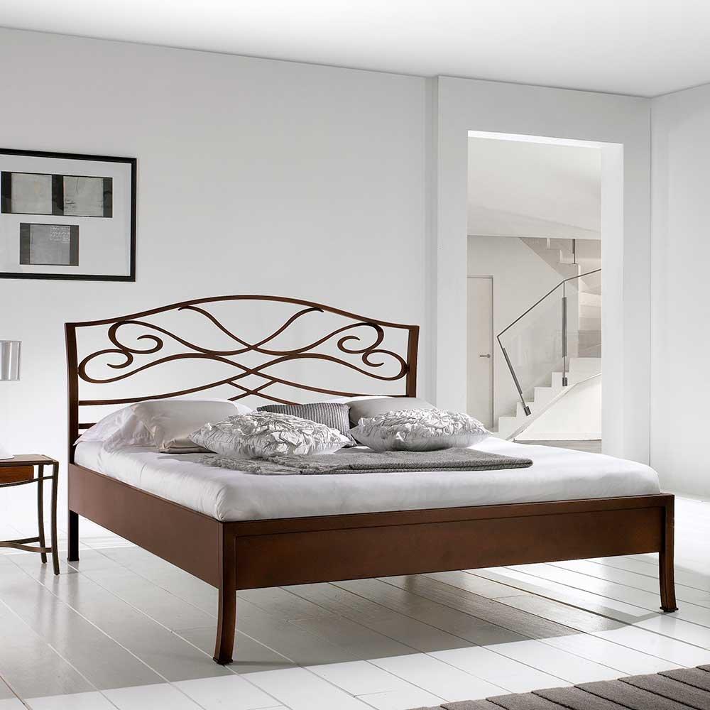 Bett in Braun Metall Breite 147 cm Liegefläche 140x200 Pharao24