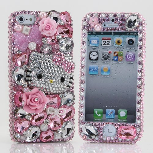 Great Sale Luxury Bling iphone 5 5S Case Cover Faceplate 3D Swarovski Pink Hello Kitty Crystal Design Front & Back Case (Handcrafted by BlingAngels)