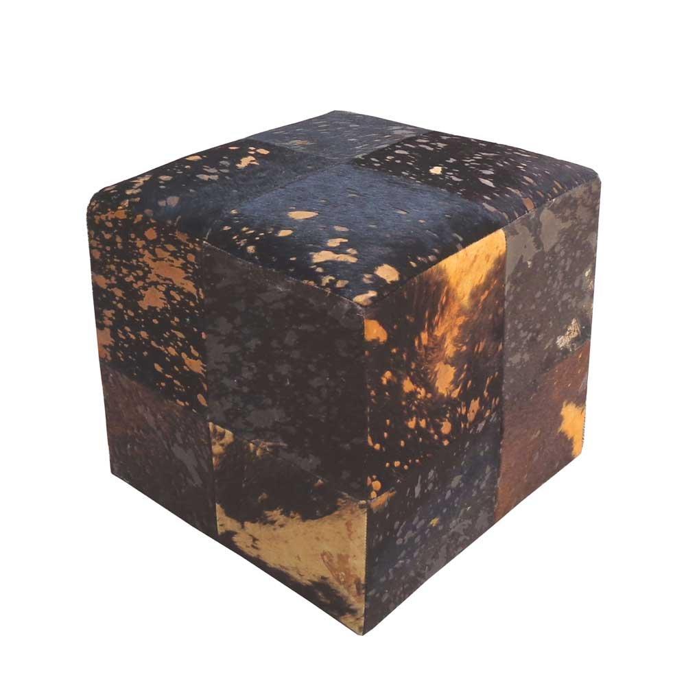 Sitzwürfel mit Kuhfell Braun Gold Pharao24 jetzt bestellen