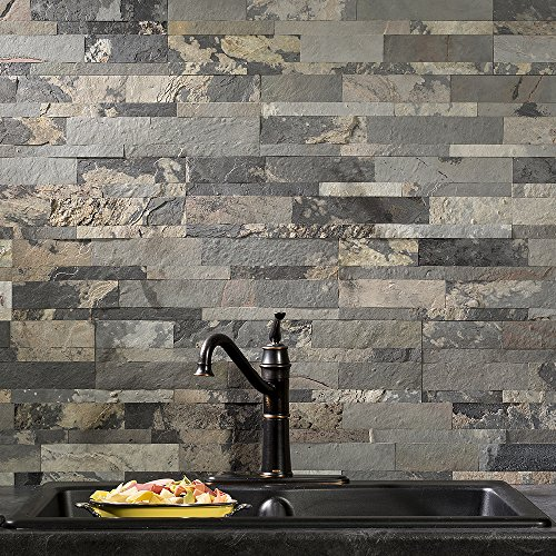 aspect peel and stick stone kitchen backsplash medley slate 6 x 24