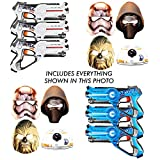 Boys Star Wars Birthday Party Set with 8 Character Masks Kylo Ren Chewbacca StormTrooper BB-8 Plus 6 Boys Toys Laser Tag Blasters (3 BLUE / 3 WHITE)