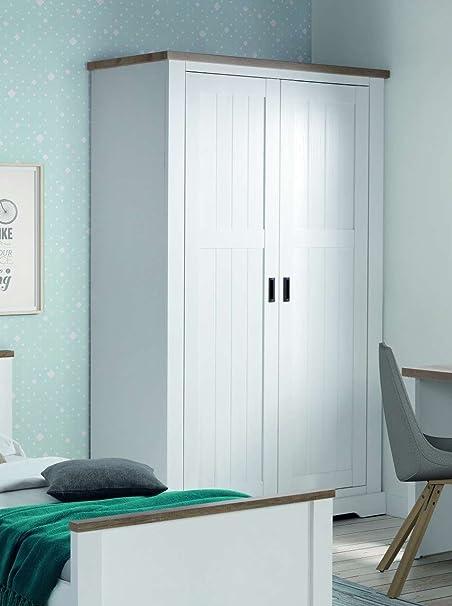 Armario dormitorio dos puertas Coventry en estilo rústico blanco lacado