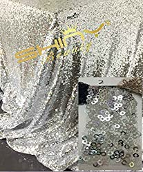 New 1 Yard High Quality Sparkly Embrodiery Mesh Lace Sequin Fabric Gold Silver Sequin Fabric For Clothes/Events Christmas Decoration Silver Color