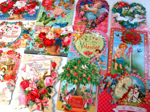 24 Valentine Card Assortment By Punch Studio, Victorian Ephemera Collection of Hearts, Flowers, Kitty Cats, Roses, Hearts, Cupid, Valentine's Day February 14
