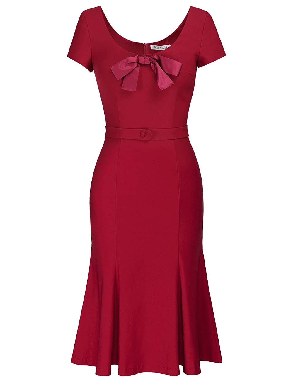MUXXN Women's Cap Sleeve Vintage Scoop Neck Bodycon Pencil Dress 0