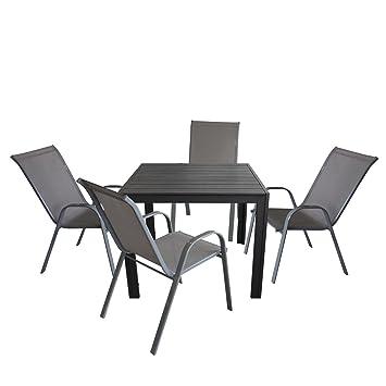 5tlg. Bistrogarnitur 4x Stapelstuhl, Textilenbespannung, Grau + Gartentisch, Aluminiumrahmen, Polywood Tischplatte schwarz, 90x90cm - Bistrogarnitur Gartenmöbel Balkonmöbel Set
