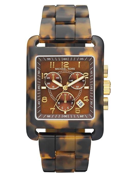 Michael Kors Women's Leopard Print Square Quartz Day Date Chronograph Link Bracelet MK5497