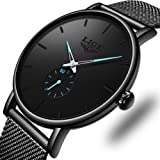 LIGE Waterproof Watches for Men Gents Fashion Black Simple Analog Quartz Watches Man Male Classic Casual Stainless Steel Mesh Band Gents Business Dres