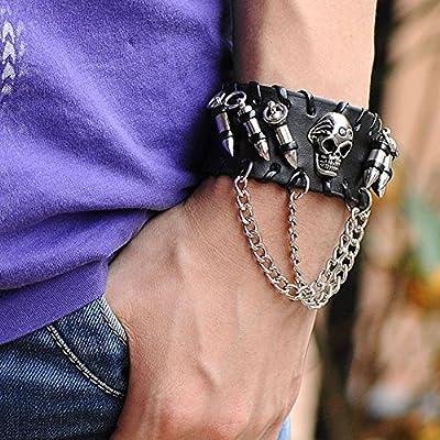 Jovivi Mak ジュエリー ファッションアクセサリー メンズ レザー 本革 合金 銅 パンク系 ドクロ 髑髏 銃弾 弾丸 リストバンド ベルト ブレスレット カラー ブラック シルバー ギフトバッグを提供