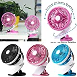 New Portable Cool Fan Baby Safe Battery Adjustable Fan Speed Stand Clip on Stroller (Pink)