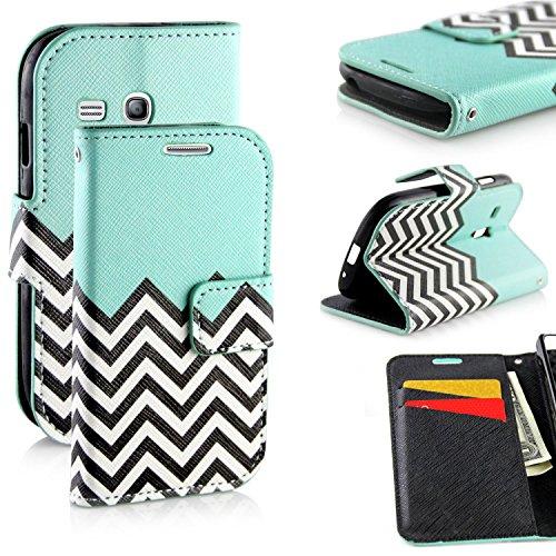 Galaxy S3 Mini Case, RANZ Stylish Design Deluxe PU Leather Folio Flip Book Wallet Pouch Case Cover (Teal Waves) For Samsung Galaxy S3 Mini i8190 (Folio Samsung S3 Mini compare prices)