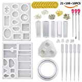 JOFAMY 13 Pcs Jewelry Casting Molds Silicone Resin Jewelry Molds +100 Pcs Scew Eye Pins,4 Paris Earing Pins,3Pcs Metal Stirrers,5Pcs Plastic Droppers for Jewelry DIY Making-Bonus Finger Cots