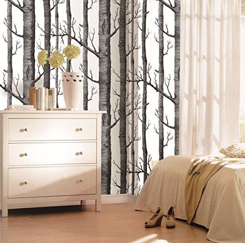 Modern Minimalist Birch Tree Pattern Waterproof Wallpaper Wall Paper Roll For Livingroom Bedroom