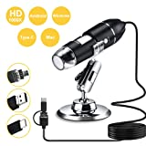 Leanking USB Digital Microscope 1000x 8 LED Magnification Endoscope Camera with Metal Stand Compatible with Windows, Android and Mac