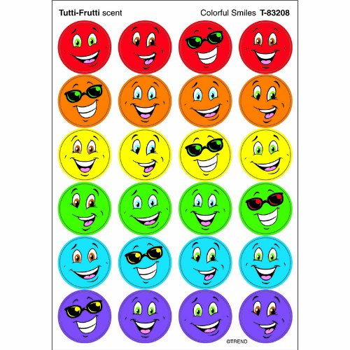 Trend Enterprises Colorful Smiles (Tutti-Frutti) Round Stinky Stickers, Small (T-83208)